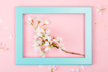 Springtime flowers in a picture frame
