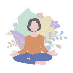 Young woman is practicing yoga assana, lotus position, meditation. Simple flat illustration with floral background. Perfect for cards, posters, prints and web projects. Vector. Eps10