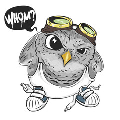 Cartoon owl, illustration for print and web. Character in the modern graphic style. - Vector