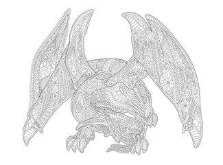 Adult coloring book page with european dragon