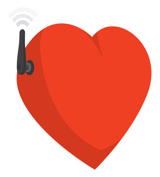 Funny heart connecting with feelings through wifi antenna
