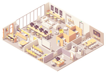 Vector isometric coworking space interior plan