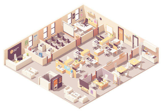 Vector isometric office interior plan