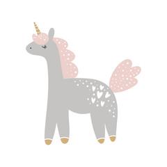 Cute hand drawn girl unicorn pastel nursery art