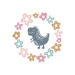 Vector cute baby dinosaur art. Nursery illustration