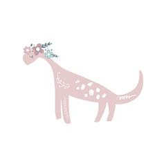 Vector cute baby dinosaur art. Nursery illustration