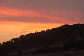 Tramonto arancione con silhouette di collina, Siviglia, Spagna