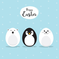 Egg Shaped animals Character Set for Easter day, Easter eggs paint. A Cute Polar Bear, Penguin, Baby Seal Pup character on sky blue background Flat design vector illustration.