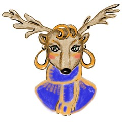 Cartoon deer in blue scarf, knitted sweater, golden earrings. Female lovely character for cards, invitations, poster, print, interior decor, banners. Red curly hairstyle, glamour image, portrait