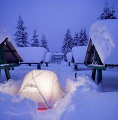 Camp tent in wonderful winter weather. National Pak Synevyr, Ukraine