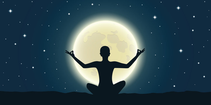 peaceful meditation at full moon and starry sky vector illustration EPS10