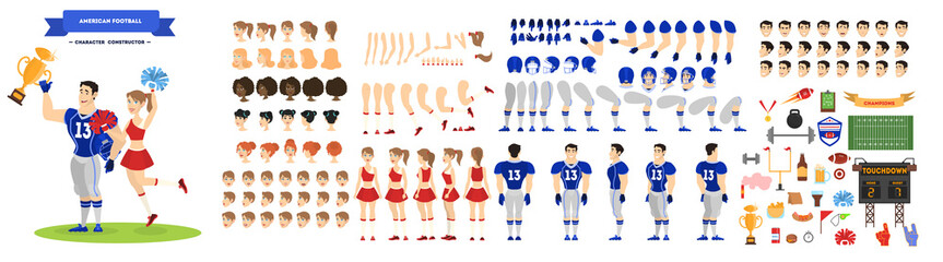 American football player and cheerleader character set