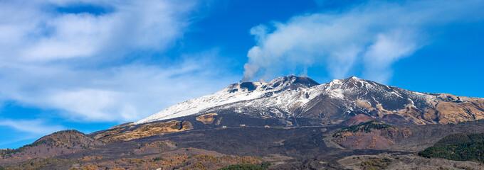 Mount Etna Volcano with smoke - Sicily island Italy