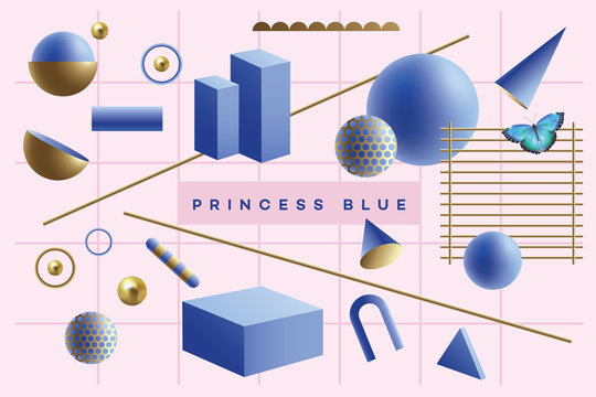 Fun blue and golden 3D geometric objects floating on a pink background