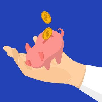 Hand put golden coin in piggy bank