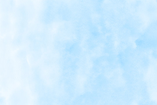 Light blue watercolor illustration on white paper texture
