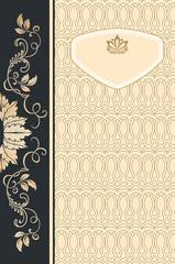 Wall Mural - Decorative background with ornamental border and frame.
