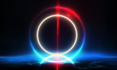 Empty Dark Futuristic Sci Fi Big Hall Room With Lights And Circle Shaped Neon Light. Dark neon background, empty stage, abstract dark background. Neon circle, reflection