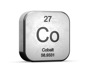 Cobalt element from the periodic table series. Metallic icon set 3D rendered on white background