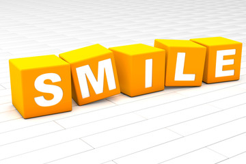 3D rendered illustration of the word Smile.