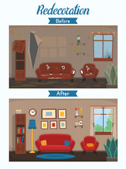 Living room before and after repair. Living room with chair, sofa, window, bookshelf. Vector flat cartoon illustration.