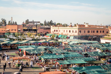 View of the Jemaa el-Fnaa market square in Marrakesh Morocco