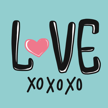 Love xoxoxo word and heart vector illustration on blue background