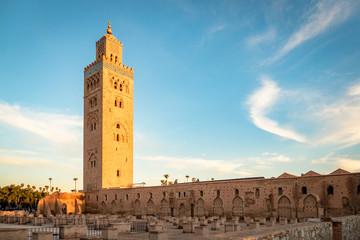 View of the Koutoubia Minaret Mosque in Marrakesh Morocco