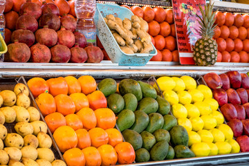 A typical market stall selling fruit to tourists in Marrakech