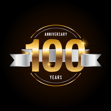 100 years anniversary celebration logotype. Golden anniversary emblem with ribbon. Design for booklet, leaflet, magazine, brochure, poster, web, invitation or greeting card.