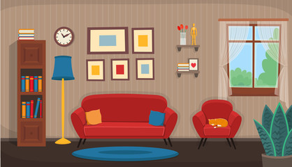 Living room with chair, sofa, window, bookshelf. Flat сozy interior in cartoon style.
