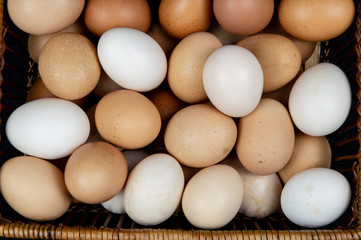 Top view of chicken eggs in a basket