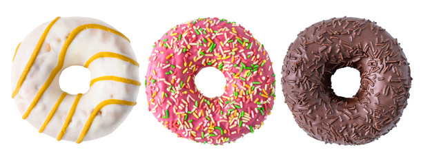 Wall Murals Dessert Assorted donuts isolated on white