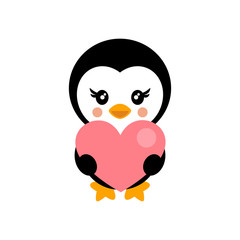 valentines day cartoon penguin with heart