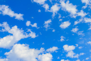Blue sky with small white clouds. Natural background