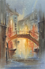 Venetian night lights with snow watercolor landscape. A canal with gondolas under the bridge