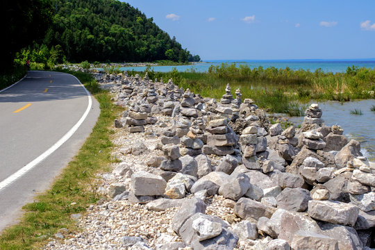 Unusual Coastal Highway. M 185 on Mackinaw Island has a ban on automobiles. The highway is traveled by bike, horse and carriage or foot and is one of the most scenic highways in the United States.