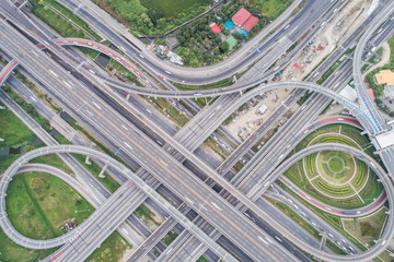Aerial view city transport intersection road car movement