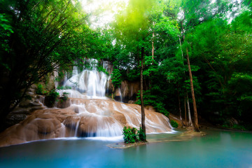 Landscape photo Saiyok Waterfall,Amazing waterfall in wonderful autumn forest, beautiful waterfall in rainforest at Kanchanaburi province, Thailand