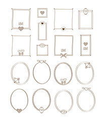 Big set of decorative oval and square vintage frames with hearts. Elements for Valentine's Day, birthday, wedding. Doodles, sketch for your design. Vector illustration.