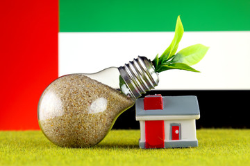 Plant growing inside the light bulb, miniature house on the grass and United Arab Emirates Flag. Renewable energy. Electricity prices, energy saving in the household.