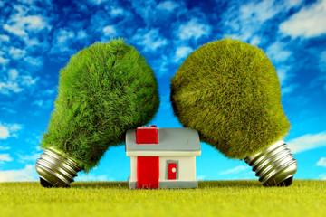 Green eco light bulbs with grass and miniature house. Renewable energy concept. Electricity prices, energy saving in the household.