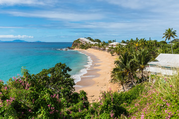 Beautiful marine view on tropical caribbean beach at Grace Bay, Antigua and Barbuda, Leeward Islands, West Indies, Central America