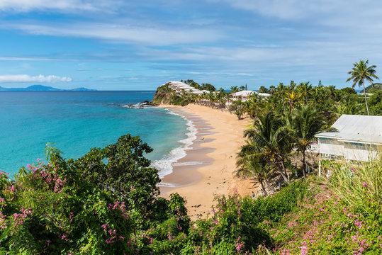 Beautiful marine view on tropical caribbean beach at Grace Bay, Antigua and Barbuda, Leeward Islands, West Indies, Central America
