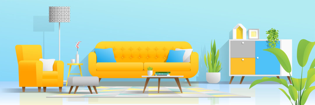 Interior background with cozy colorful living room , vector , illustration
