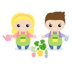 Boy and girl florist cartoon style. Set of cute cartoon children in professions. Vector illustration