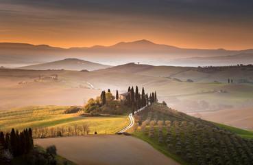 Tuscan villa at dawn, San Quirico d'Orcia, Tuscany, Italy