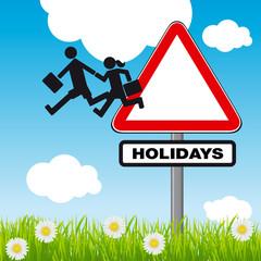 Concept humoristique du départ en vacances, avec comme symbole le dessin de deux enfants quittant le panneau de signalisation : attention école