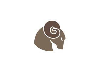 Bighorn Sheep head with angry face, Dickhorn, Dickhornschaf logo