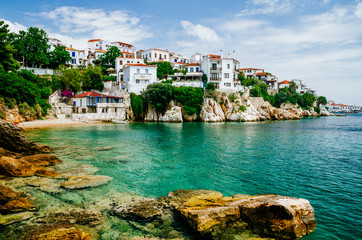Old town view of Skiathos island, Sporades, Greece.